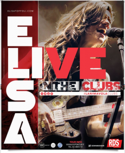 "Elisa, locandina del tour ""L'anima vola In The Clubs"""