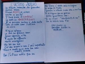 """Testo de """"L'ultimo addio"""". Fonte: profilo Facebook"""